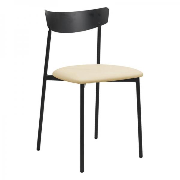 Chaise pieds métal et assise rembourrée crème - Clip - 7