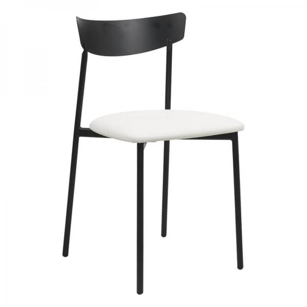 Chaise pieds métal et assise rembourrée blanche - Clip - 10