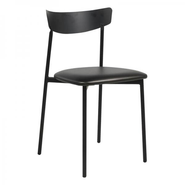 Chaise pieds métal et assise rembourrée noire brillant - Clip - 11