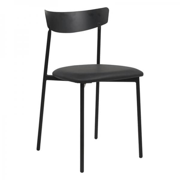Chaise pieds métal et assise rembourrée grise - Clip - 12