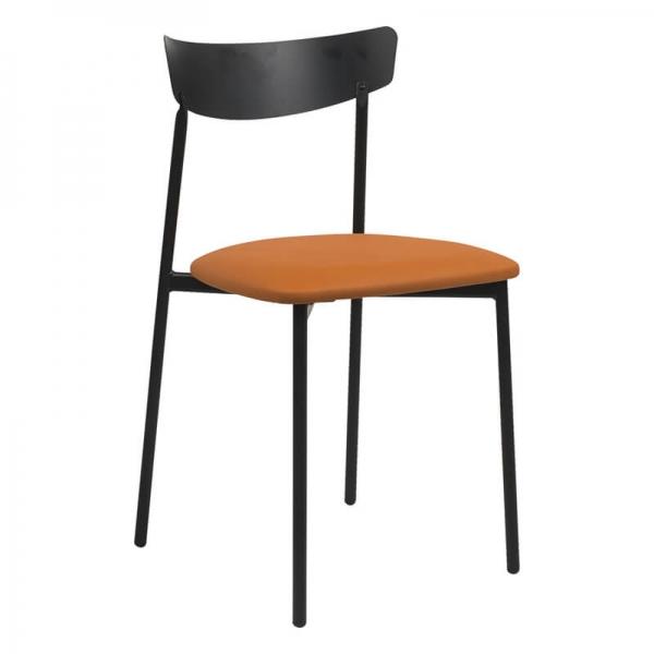 Chaise pieds métal et assise rembourrée orange - Clip - 13