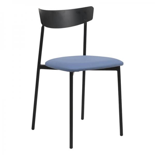 Chaise pieds métal et assise rembourrée bleue - Clip - 14