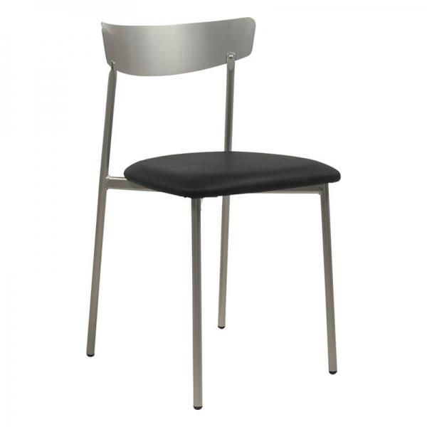 Chaise en métal et synthétique noir style moderne - Clip - 19