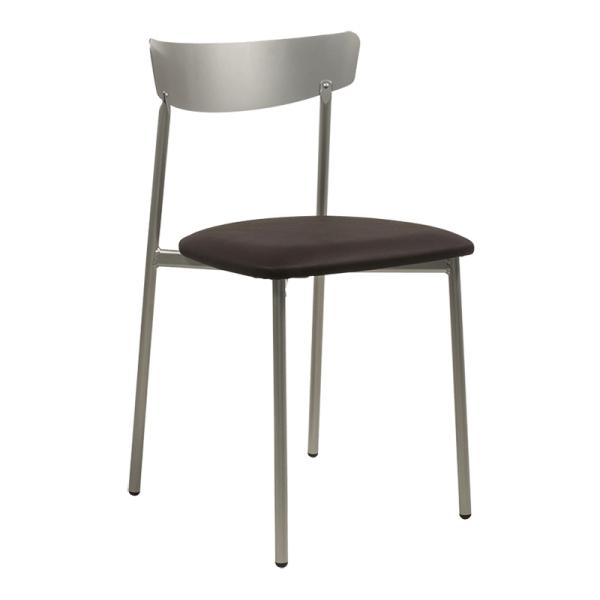 Chaise moderne pieds métal et assise rembourrée marron - Clip  - 20