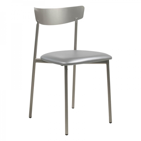 Chaise de cuisine pieds métal et assise rembourrée gris brillant - Clip - 21