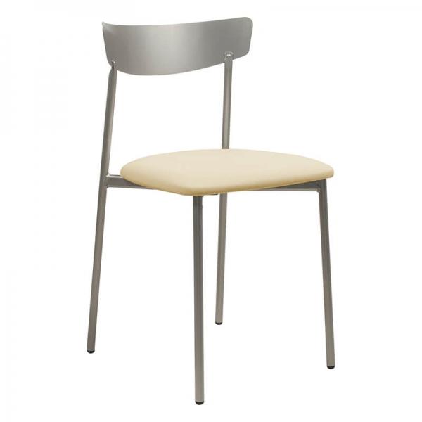 Chaise de cuisine pieds métal et assise rembourrée gris brillant - Clip - 22