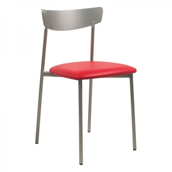 Chaise de cuisine rouge pieds métal gris - Clip - 23