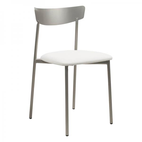 Chaise de cuisine blanche pieds métal gris - Clip - 25