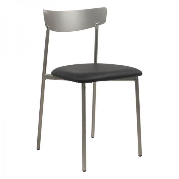 Chaise moderne pieds métal et assise rembourrée grise - Clip  - 27