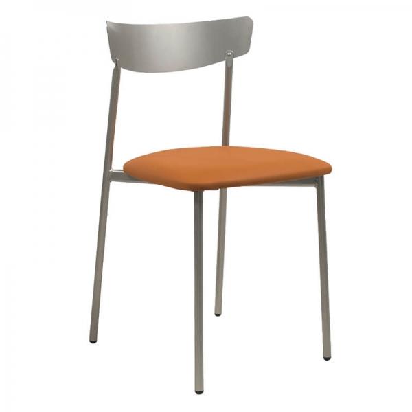 Chaise de cuisine pieds métal et assise rembourrée orange - Clip - 28