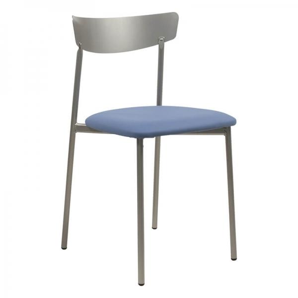 Chaise de cuisine pieds métal et assise rembourrée bleue - Clip - 29