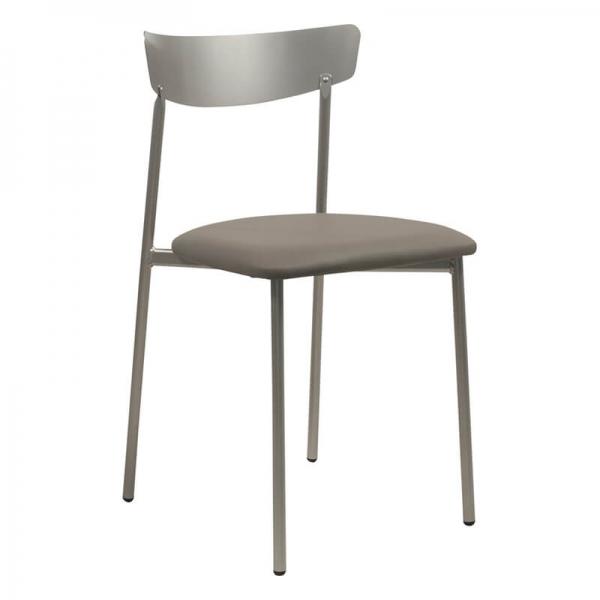 Chaise moderne pieds métal et assise rembourrée grise - Clip  - 32
