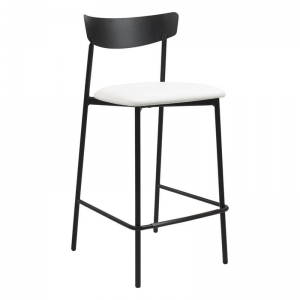 Tabouret snack de cuisine assise rembourrée blanche structure en métal - Clip