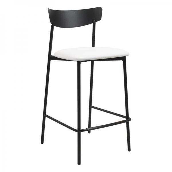 Tabouret snack de cuisine assise rembourrée blanche structure en métal - Clip - 1