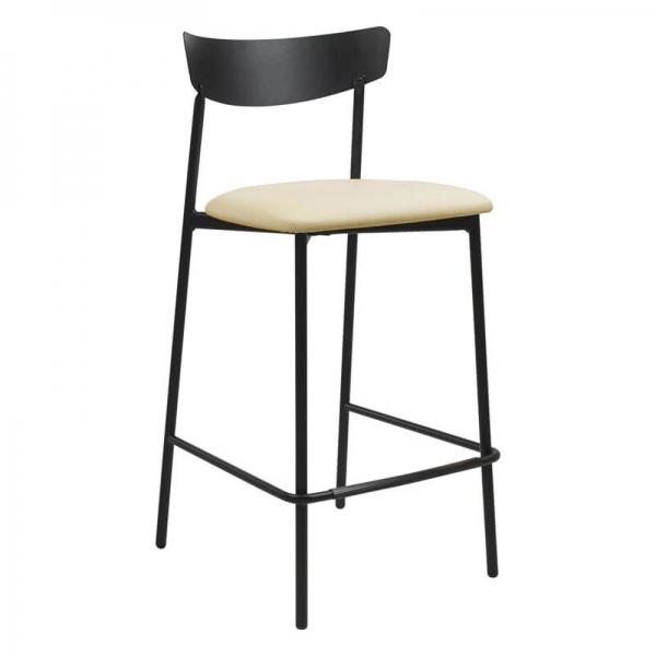 Tabouret snack de cuisine assise rembourrée crème structure en métal - Clip - 6