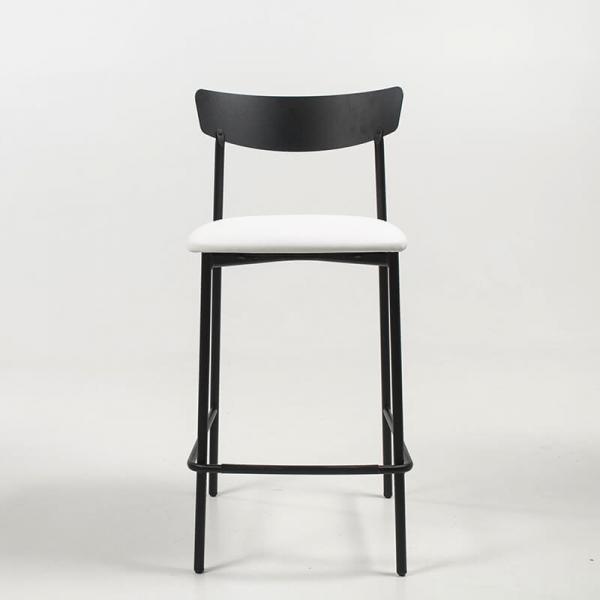 Tabouret snack de cuisine assise rembourrée blanche structure en métal - Clip - 2