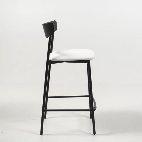 Tabouret snack de cuisine assise rembourrée blanche structure en métal - Clip - 3