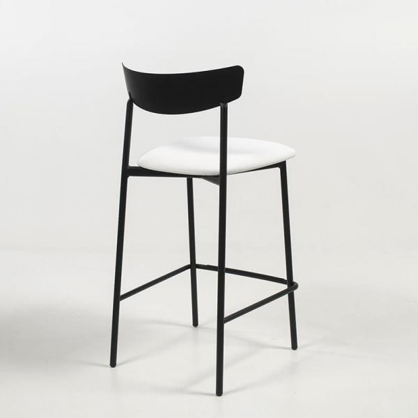 Tabouret snack de cuisine assise rembourrée blanche structure en métal - Clip - 4