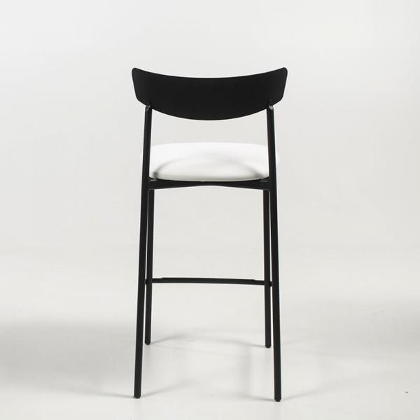 Tabouret snack de cuisine assise rembourrée blanche structure en métal - Clip - 5