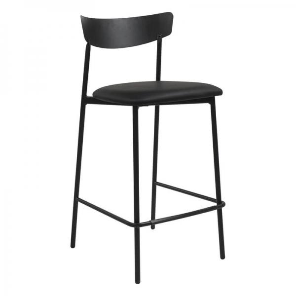 Tabouret snack de cuisine assise rembourrée noire structure en métal - Clip - 8