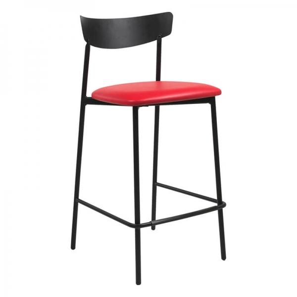 Tabouret snack de cuisine assise rembourrée rouge structure en métal - Clip - 9