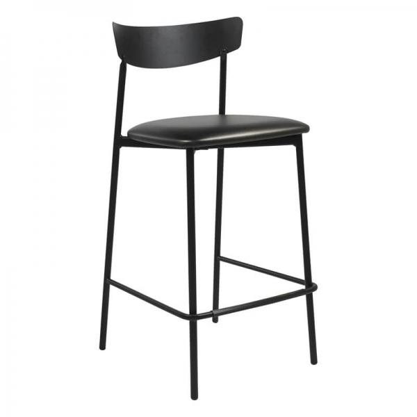 Tabouret snack de cuisine assise rembourrée noir brillant structure en métal - Clip - 10