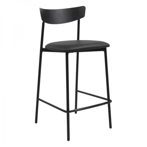 Tabouret snack de cuisine assise rembourrée gris foncé structure en métal - Clip - 11