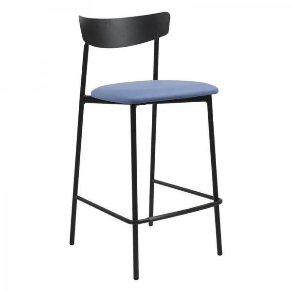 Tabouret snack de cuisine assise rembourrée bleue structure en métal - Clip - 12