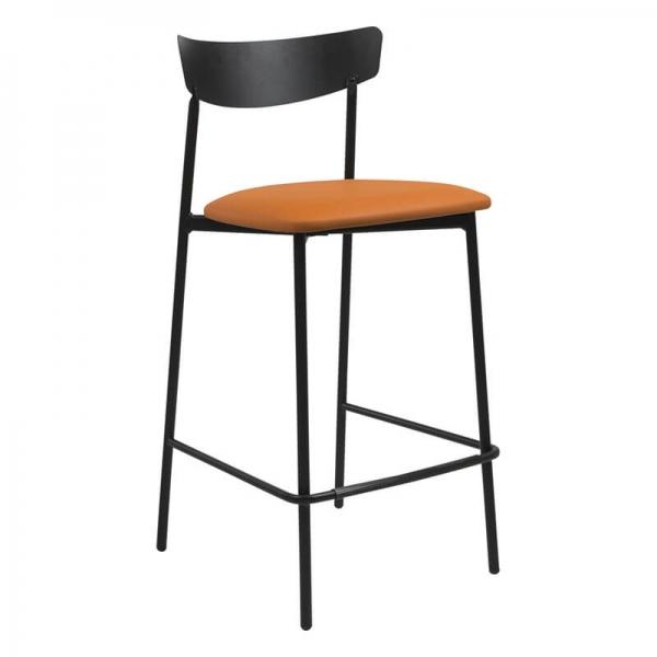 Tabouret snack de cuisine assise rembourrée orange structure en métal - Clip - 13