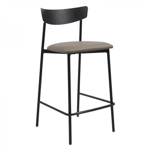 Tabouret snack de cuisine assise rembourrée taupe structure en métal - Clip - 16