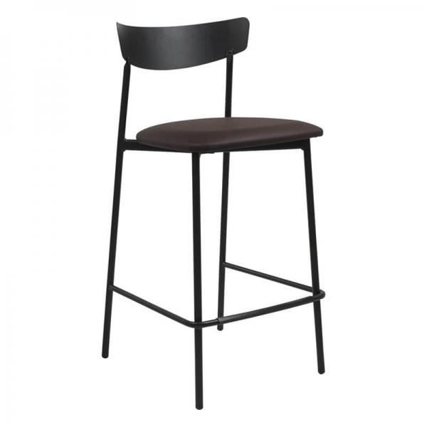 Tabouret snack de cuisine assise rembourrée marron structure en métal - Clip - 17