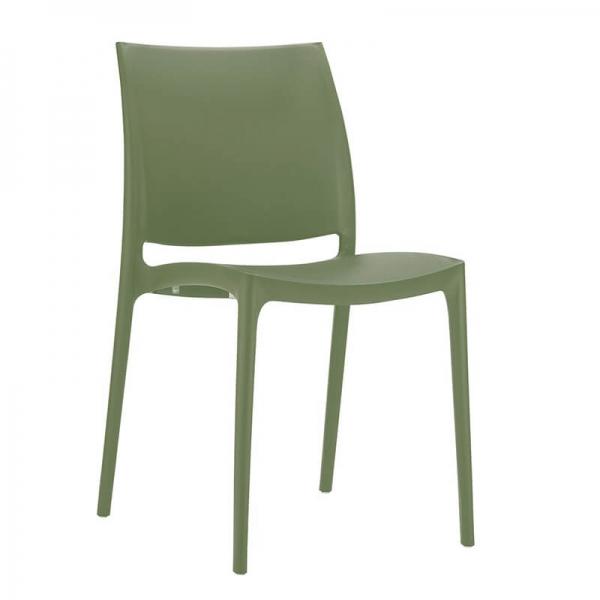Chaise en plastique vert empilable - Maya - 25
