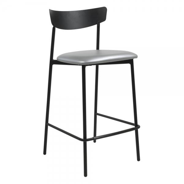 Tabouret snack de cuisine assise rembourrée argenté structure en métal - Clip - 18