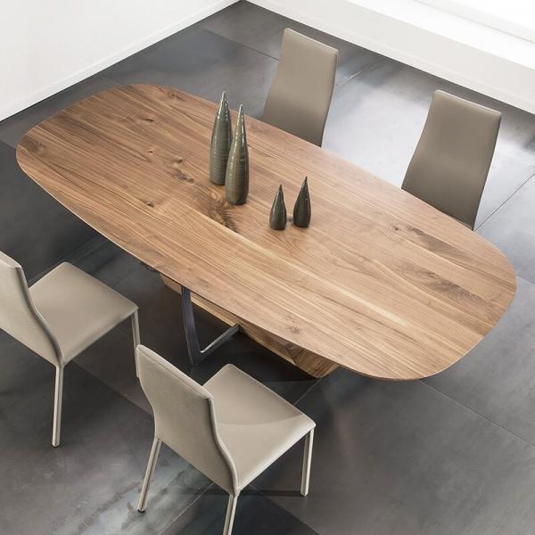 Table à manger en bois de noyer massif et métal - 14.13 - 4
