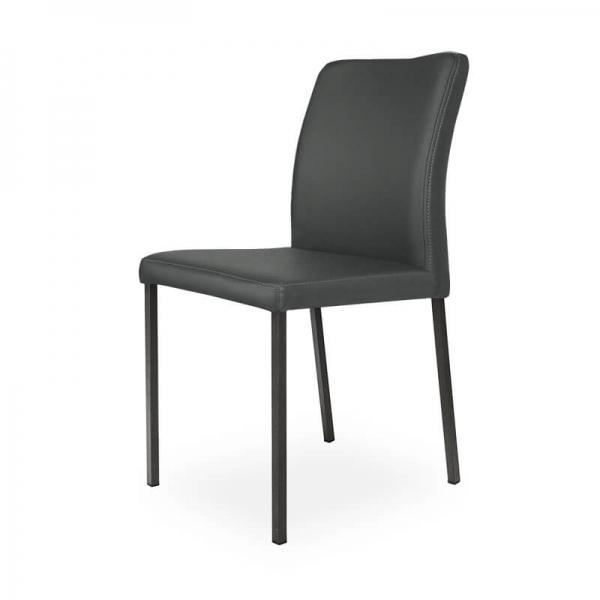 Chaise contemporaine de cuisine grise pieds métal - Hana - 2