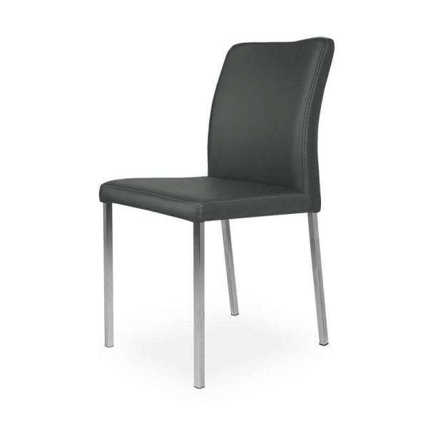 Chaise contemporaine de cuisine grise pieds métal - Hana - 4