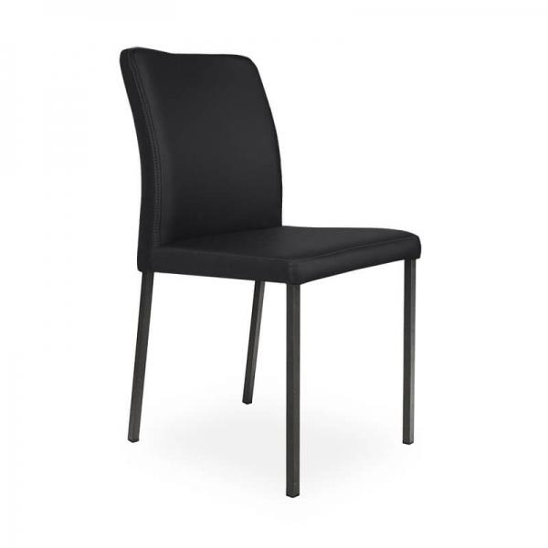 Chaise contemporaine noire pieds métal - Hana - 5
