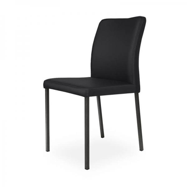 Chaise contemporaine noire pieds métal - Hana - 6