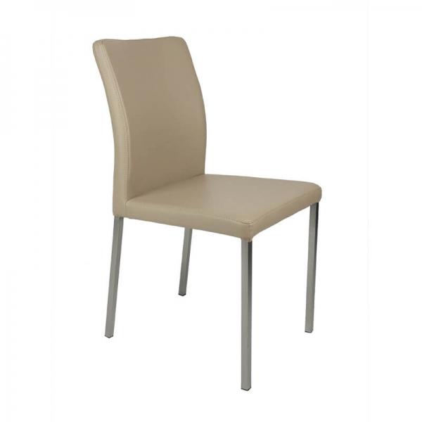 Chaise contemporaine gris clair pieds métal - Hana - 7