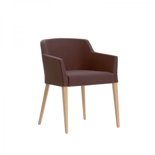 Fauteuil Mobitec® en tissu marron avec pieds bois massif - Colibri - 1