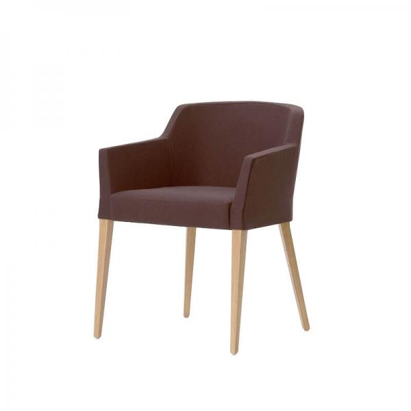 Fauteuil Mobitec® en tissu marron avec pieds bois massif - Colibri - 2