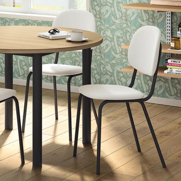 Chaise de cuisine rembourrée blanche et noire - STR05 - 2