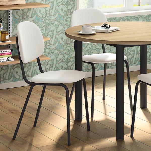 Chaise de cuisine en métal et synthétique blanche et noire - STR05 - 1
