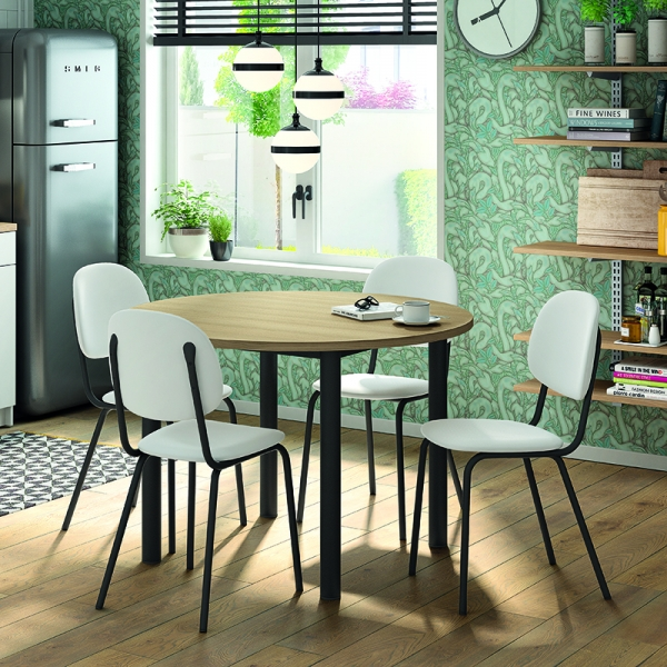 Table de cuisine ronde extensible en stratifié - Lustra - 4