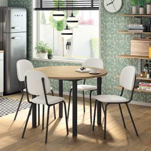 Table de cuisine ronde en stratifié imitation bois pieds noirs - Lustra