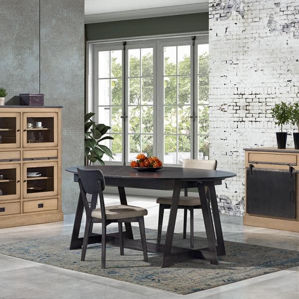 Table design elliptique avec allonges en céramique noire marbrée - Générique - 3