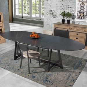 Table design elliptique extensible en céramique noire marbrée - Générique