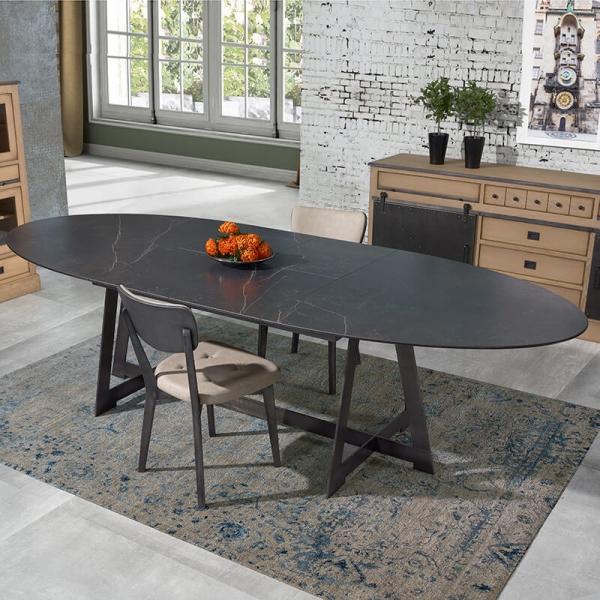 Table design elliptique extensible en céramique noire marbrée - Générique - 1
