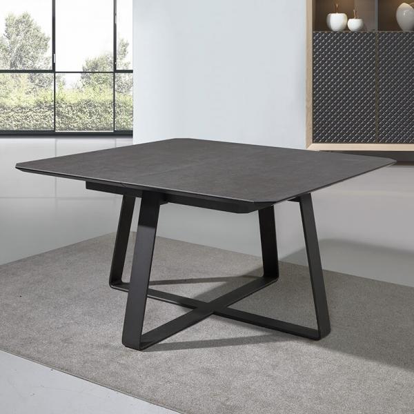 Table carrée design en céramique noire avec allonge - Sofia - 3