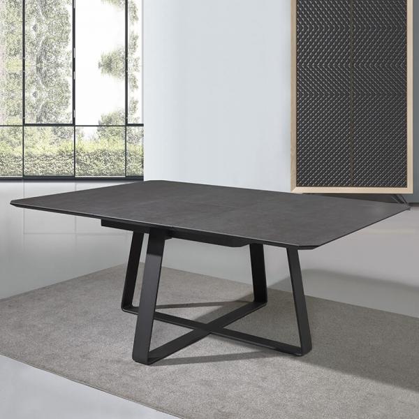 Table extensible carrée design en céramique noire - Sofia - 4